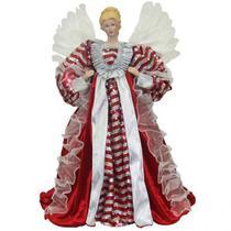 Estátua Anjo vermelho e prata 60cm - Resina - Zona Livre