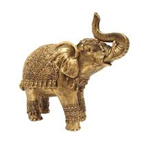 Estátua Decorativa Elefante Indiano Da Sorte Enfeite Em Resina Dourado - R.A. Artesanatos