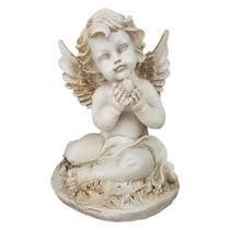 Estatueta anjo com asas c/ pomba branca em resina - Bambumania