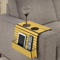 Esteira para Braço de Sofá Porta Copos e Controle - Amarelo - Casatema