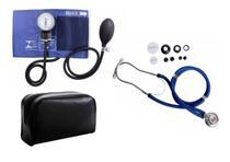 Estetoscópio Duplo +  Medidor de Pressão Arterial Azul - Premium