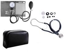 Estetoscópio Duplo +  Medidor de Pressão Arterial Grafite - Premium