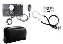 Estetoscópio Duplo +  Medidor de Pressão Arterial Preto - Premium