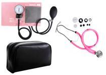 Estetoscópio Duplo +  Medidor de Pressão Arterial Rosa - Premium