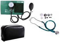 Estetoscópio Duplo +  Medidor de Pressão Arterial Verde - Premium