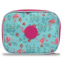 Estojo 100 Pens Escolar Grande Flamingos Necessaire - Vou Leve