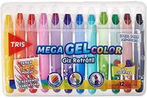 Estojo 12 Cores Giz Retrátil Mega Gel Color com Cheirinho Tris - acrilex