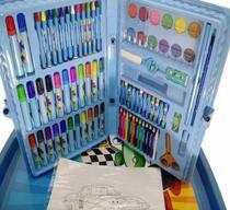Estojo AZUL Maleta Escolar Pintura 86 Peças com Canetinhas, giz, aquarela, lápis de cor - Regal
