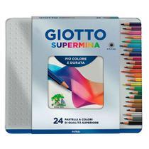 Estojo de Lata de Lápis de Cor Mina Permanente Giotto com 24 cores - 256800 -