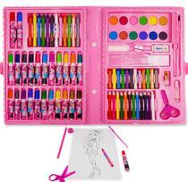 Estojo Escolar Maleta Pintura 98 Peças + Desenho P/ Pintura - Well Kids