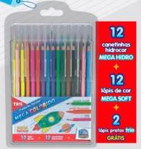 Estojo lapis de cor c/26 cores mega colorido  - 691060 - Tris