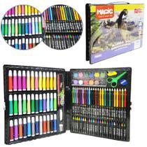 Estojo / maleta escolar mundo dos dinossauros com canetinha + acessorios 150 pecas - Magic