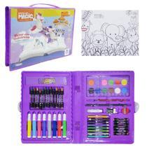 Estojo / maleta escolar reino dos unicornios com canetinha + acessorios 86 pecas - Magic Kids