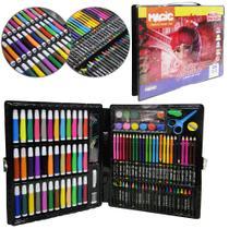 Estojo / maleta escolar reino encantado com canetinha + acessorios 150 pecas - Magic