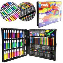Estojo / maleta escolar riscos e rabiscos com canetinha + acessorios 150 pecas - Magic
