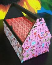 Estojo maleta para 50 esmaltes mdf adesivado fundo rosa - Girassol