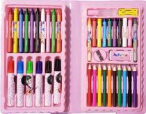 Estojo Maleta Para Pintura Escolar Com 48 Peças Rosa - Artzone -