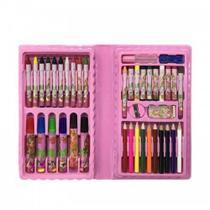 Estojo Maleta Pintura Infantil Com 48 Peças Lápis Giz de Cera Canetinhas Menina Rosa MT-48R -