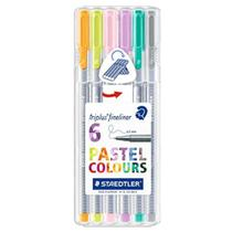 Estojo Triplus Fineliner Staedtler 06 Cores Pastel -