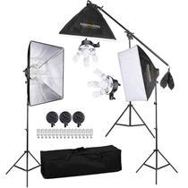 Estúdio de Iluminação ARES 675W c/ Softboxs 50x70 e Lâmpadas - 220v - Tudoprafoto