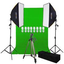 Estúdio Youtuber Profissional C/ Softbox Chroma Key e Tripé Gold - 110v - Tudoprafoto