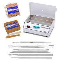 Estufa Manicure Esterilizador Kit Manicure 6 Peças + 144 Lixas + 100 Palitos - Mega Bell