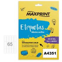 Etiqueta Ink-jet/laser A4351 21,2x38,2 Mm Pacote Com 100 Folhas Com 65 Etiquetas Por Folha - Maxprin - Maxprint