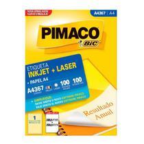 Etiqueta p/ imprimir Pimaco A4367 Ink-jet Laser A4 c/ 100 etiquetas -