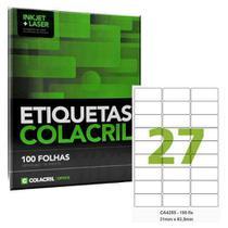 Etiquetas Adesivas A4 31 X 63,5 Mm 100 Folhas Colacril Ca4355 -