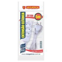 Extensão Megatron Fio Paralelo 2 x 0,75mm 5m Branca 3 Tomadas -