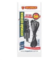 Extensão Megatron Fio Paralelo 2 x 0,75mm 5m Preta 3 Tomadas -