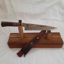 """Faca 100% artesanal, mod picanheira, disco de arado, 10"""" =25 cm de lâmina, cabo de madeira torneada. - Cutelaria 7 POVOS"""