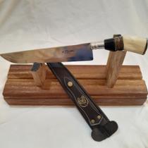 """Faca 100% artesanal, picanheira, aço INOX 420cc, 10"""" de lâmina, cabo madeira, chifre, resina e osso. - Cascavel"""