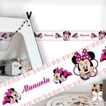 Faixa adesiva decoração quarto de menina minnie rosa com nome - Criart2K
