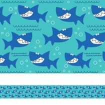 Faixa Adesiva para Quarto de Menino Tubarão Azul 3mx15cm - Quartinhos