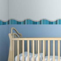 Faixa de Parede Infantil Lapis de Cor Onda Azul 10mx10cm - Quartinhos