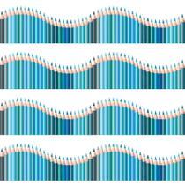 Faixa de Parede Infantil Lapis de Cor Onda Azul 3mx15cm - Quartinhos