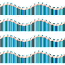 Faixa de Parede Infantil Lapis de Cor Onda Azul 5mx10cm - Quartinhos