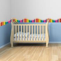 Faixa de Parede Infantil Lapis de Cor Onda Colorida 10mx10cm - Quartinhos