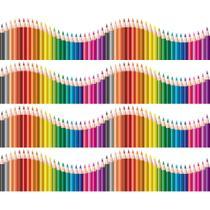 Faixa de Parede Infantil Lapis de Cor Onda Colorida 12mx15cm - Quartinhos