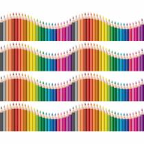 Faixa de Parede Infantil Lapis de Cor Onda Colorida 2,5mx10cm - Quartinhos