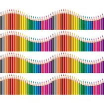 Faixa de Parede Infantil Lapis de Cor Onda Colorida 3mx15cm - Quartinhos