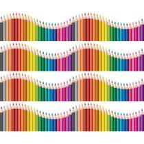 Faixa de Parede Infantil Lapis de Cor Onda Colorida 5mx10cm - Quartinhos