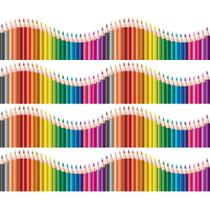 Faixa de Parede Infantil Lapis de Cor Onda Colorida 6mx15cm - Quartinhos