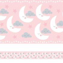 Faixa de Parede Nuvens e Lua Rosa Quarto de Meninas 3mx15cm - Quartinhos