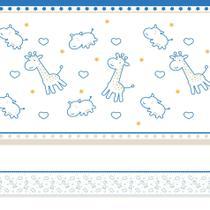 Faixa Decorativa Infantil Girafa e Hipopótamo Azul 6mx15cm - Quartinhos