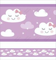 Faixa Decorativa Infantil Lilás Papel Parede Chuva Nuvem - Samydecor