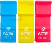 Faixa Elástica Látex Thera Band Fisioterapia - Kit 3 Níveis T13 - Acte Sports