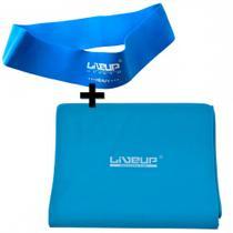 Faixa Elastica Tensao Forte + Mini Band Forte Cor Azul Liveup -