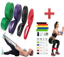 Faixa Super Band 4 Intensidades Mais 5 Mini Band Elásticos Borracha Extensor Treino Yoga Exercício Esportivo Treino - Import